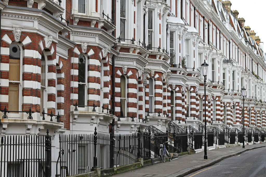 Traditional Victorian brick houses in London Kensington