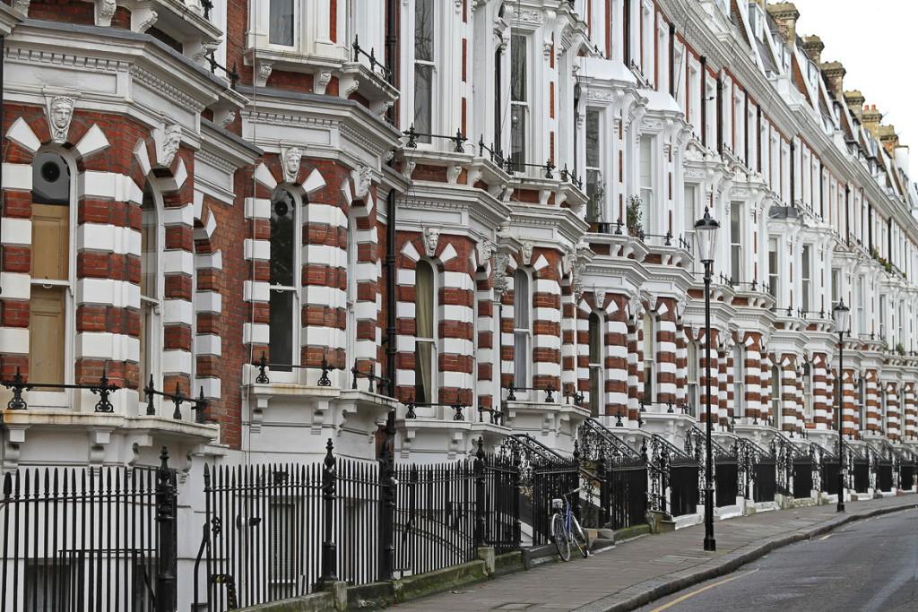 Traditional Victorian brick houses in London Kensington